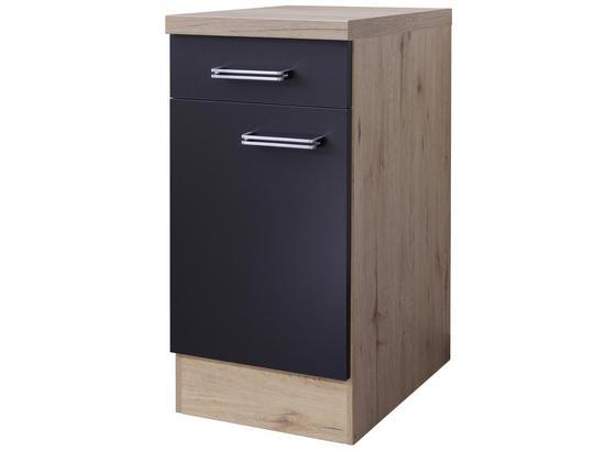 Kuchyňská Spodní Skříňka Milano - barvy dubu/antracitová, Moderní, kompozitní dřevo (40/86/60cm)