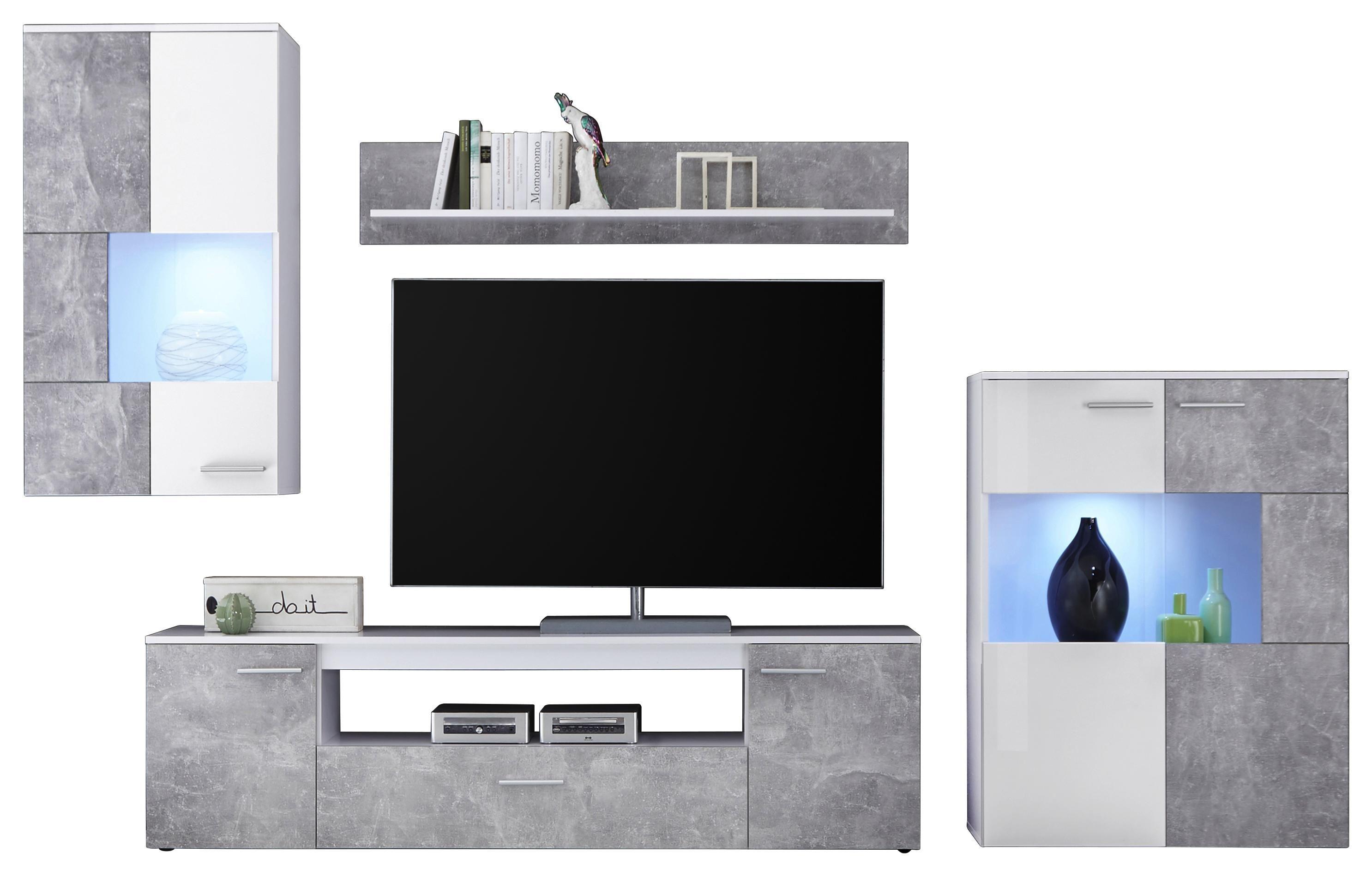 Obývací Stěna Vulcan - bílá/šedá, Moderní, kompozitní dřevo (265-295 194 40cm)