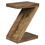Beistelltisch Z-Förmig Mumbai, Sheesham Echtholz Massiv - Sheeshamfarben, Design, Holz (44/30/59cm) - Livetastic