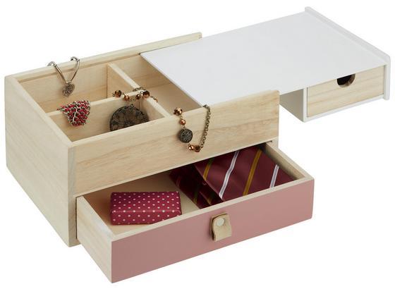 Organizér Na Šperky Lara - růžová/přírodní barvy, dřevo (25/12/18,2cm) - Mömax modern living
