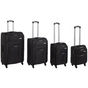 Reisekofferset Florida 4-teilig - Schwarz, MODERN, Kunststoff/Textil - Ombra