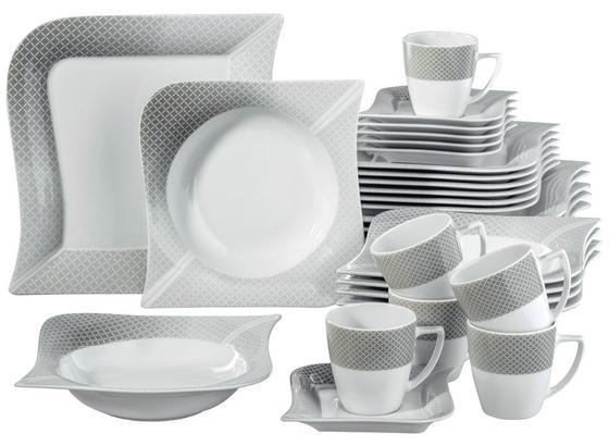 Kombinovaný Servis Moonlight, 30 Dielny - sivá/biela, keramika (36/33/28,5cm) - Premium Living