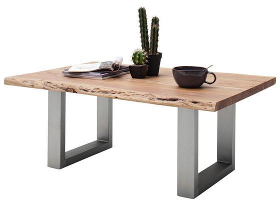 Couchtisch Holz mit Massiver Tischplatte Cartagena, Akazie - Edelstahlfarben/Akaziefarben, MODERN, Holz/Metall (110/45/70cm)