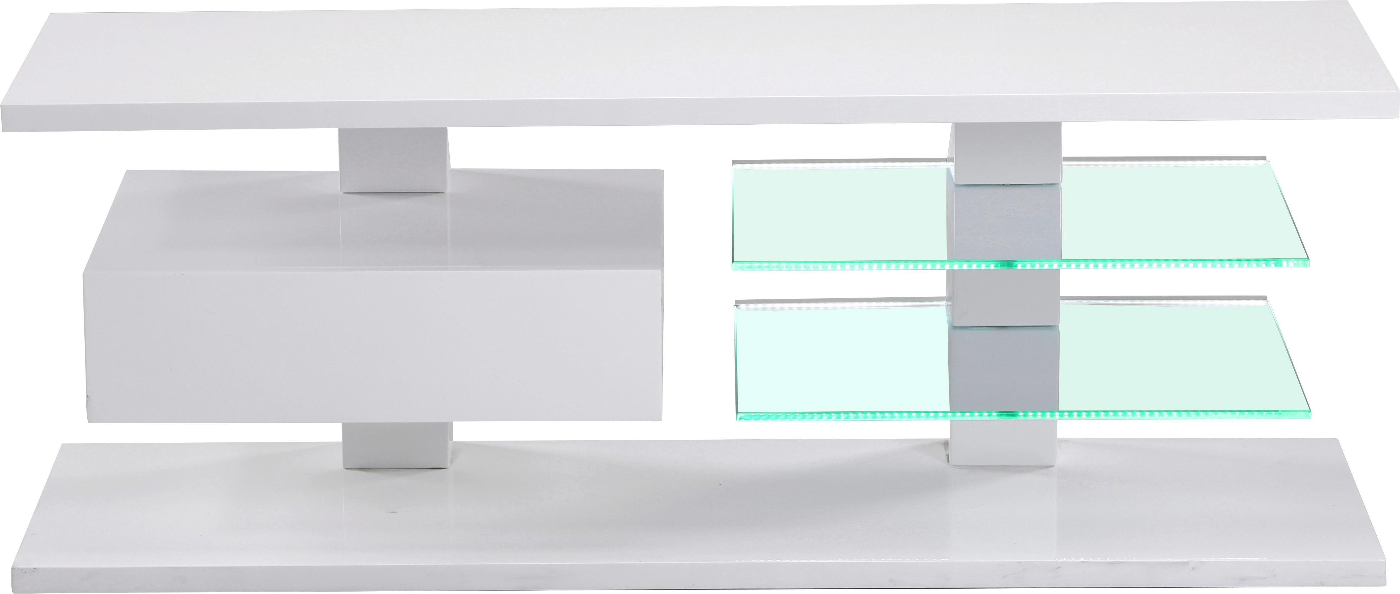 Médiaállvány Wien - fehér, modern, üveg/faanyagok (120/45/42cm) - MÖBELIX