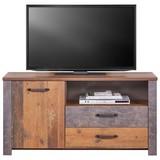 TV-Element Ontario - Dunkelgrau/Eichefarben, Trend, Holzwerkstoff (131/67,7/41,5cm) - Ombra