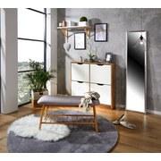Lavica Hagen - prírodné farby/sivá, Moderný, drevo/textil (90/44/34cm) - Ombra