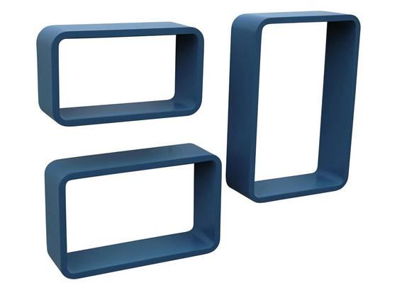 Wandregal Sven 45x40cm 3-teilig, Blau - Blau, MODERN, Holzwerkstoff (45/40/35/30/25/20/11cm)