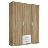 Drehtürenschrank mit Laden 136cm Albero, Eiche Dekor/Weiß - Eichefarben/Weiß, Design, Holzwerkstoff (136/197/54cm) - MID.YOU