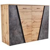 Komoda Venedig - šedá/barvy dubu, Moderní, kompozitní dřevo (160/110/40cm)