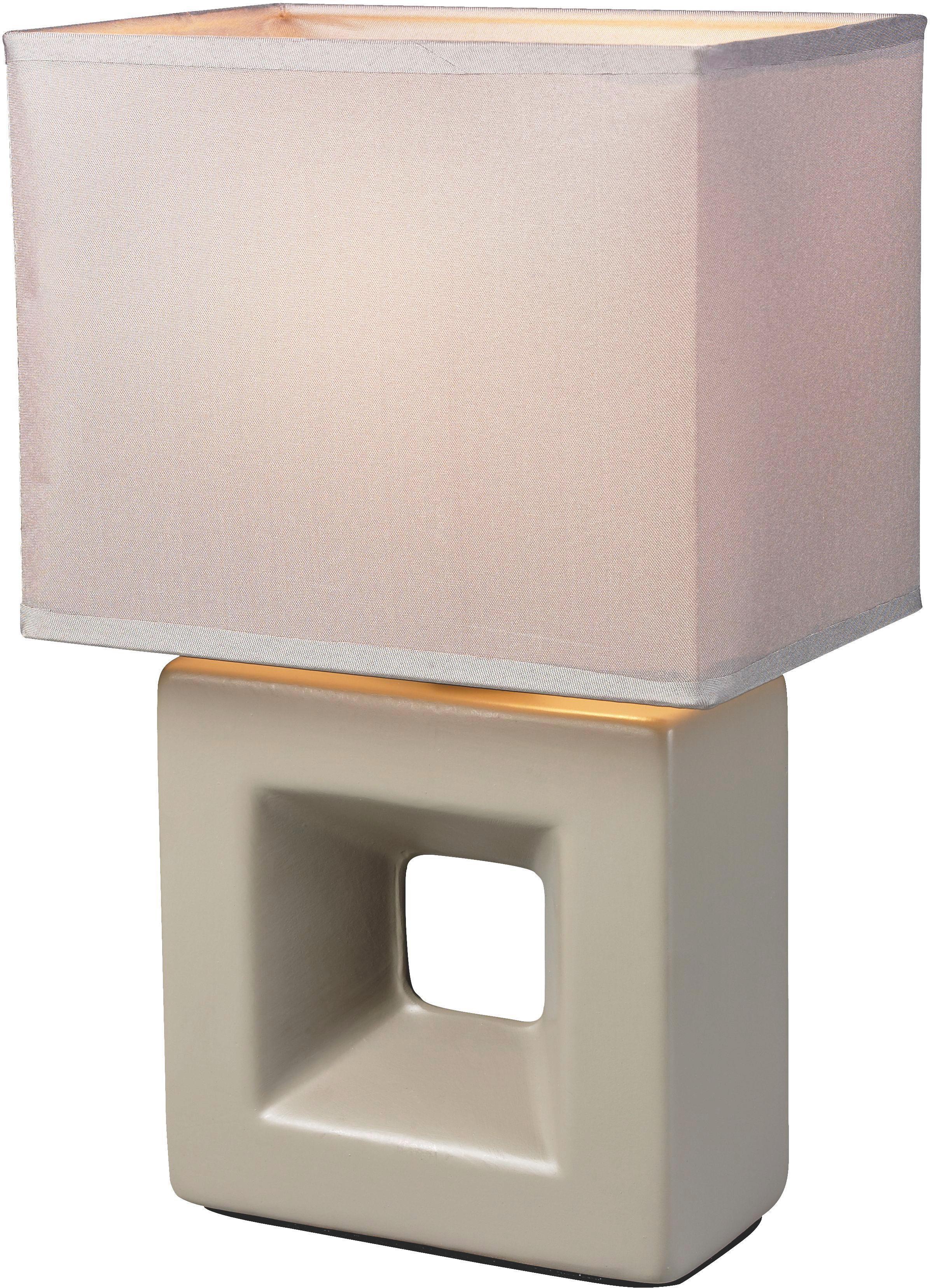 Lampa Stolní Quadro - šedohnědá, textil/keramika (17/12/28cm) - MÖMAX modern living