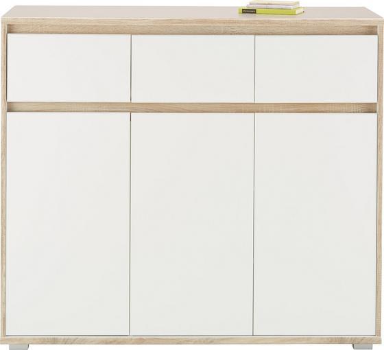 Komoda Sideboard Pluto - bílá/Sonoma dub, Moderní, dřevěný materiál (118/103/48cm)