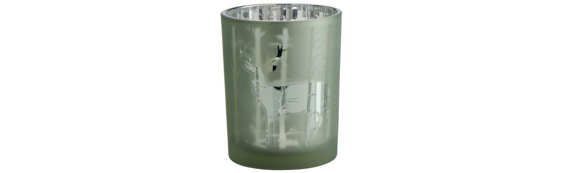 Winterlicher Teelichthalter mit Hirsch-Motiv