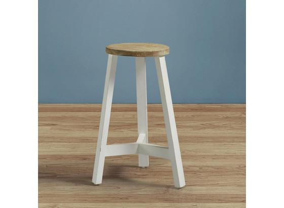 Taburet Nicolo - bílá/barvy dubu, Moderní, dřevo (35/50cm) - Modern Living