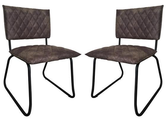 Stuhl-Set 2-Er Set Grau - Schwarz/Grau, Basics, Textil/Metall (51/81/57cm)