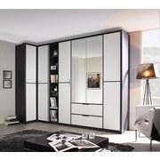Eckschrank mit Spiegel + Laden 100x314cm Essensa, Weiß - Anthrazit/Weiß, Design, Holzwerkstoff (100/314cm) - Livetastic