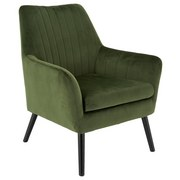 Relaxsessel mit Echtholzbeinen Lounge Samtbezug Grün - Schwarz/Grün, MODERN, Holz/Textil (71/85/71cm) - MID.YOU