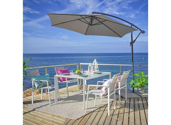 Relaxační Sestava Na Terasu Cancun -int- - bílá/šedobéžová, Moderní, kov/textil - Modern Living