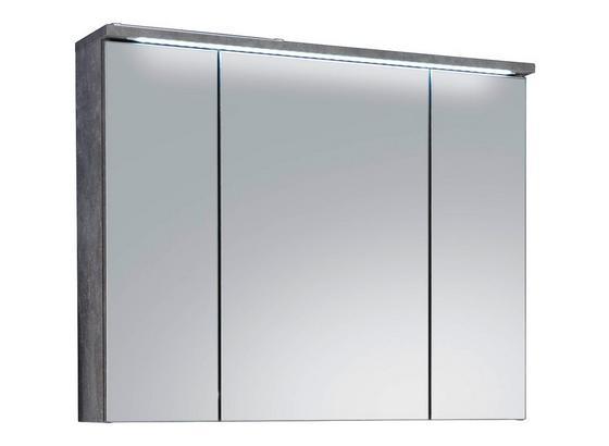 Spiegleschrank mit Led Splash B: 80cm, Hellgrau - Hellgrau, Design, Glas/Holzwerkstoff (80/68/23cm)