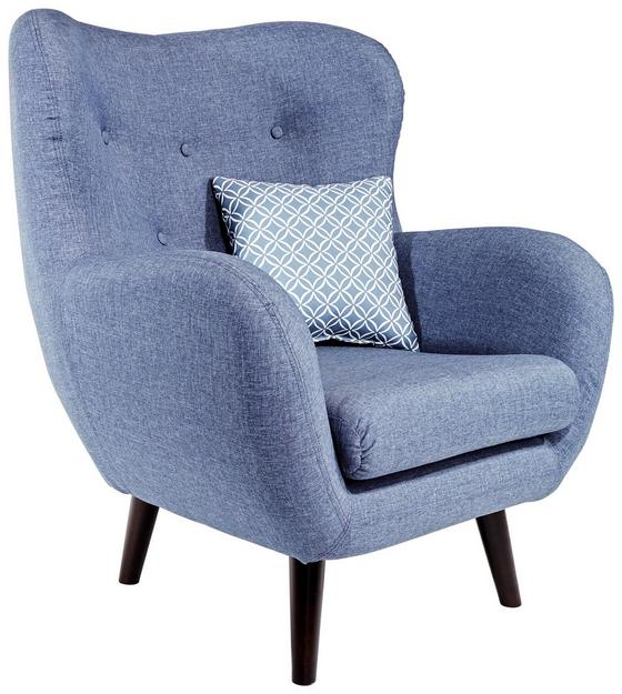 Tv Křeslo Viborg - modrá, Moderní, textil (91/104/80cm)