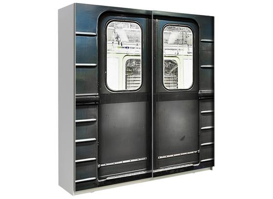 Schwebetürenschrank 170cm Plakato Metro, Grau Dekor - Dunkelgrau/Weiß, MODERN, Holzwerkstoff/Kunststoff (170,3/190,5/61,2cm)