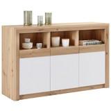 Sideboard Kashmir New B:142cm Artisan Eiche Dekor/ Weiß Matt - Eichefarben/Schwarz, MODERN, Holzwerkstoff (142/89/41cm) - James Wood