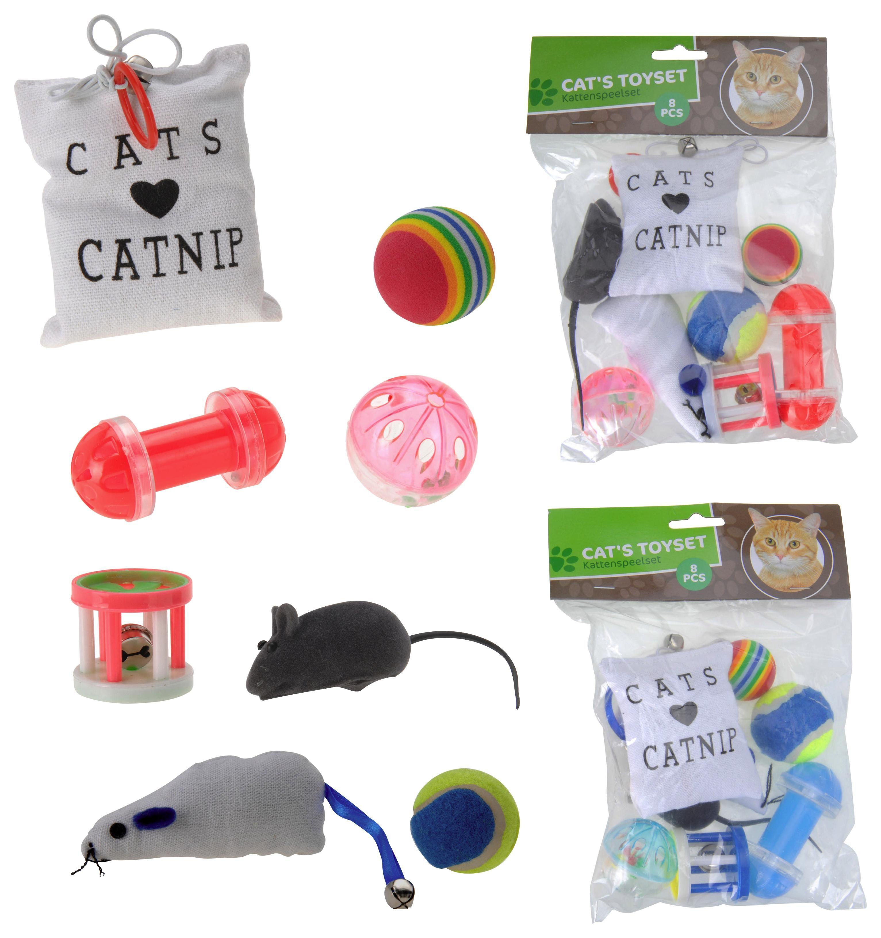 Katzenspielzeugset Kitty - Multicolor, Basics, Kunststoff/Textil