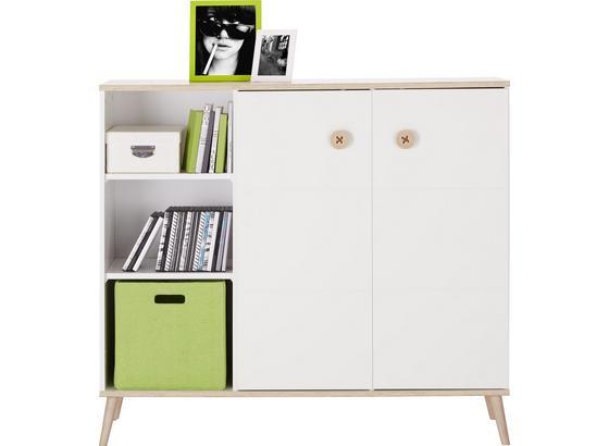 Komoda Billund - bílá/barvy dubu, Moderní, dřevo/kompozitní dřevo (125/111/40cm) - Modern Living