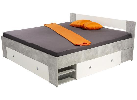 Posteľ Azurro 180 - biela/svetlosivá, Moderný, kompozitné drevo (204/75/185cm)