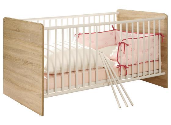 Postieľka Wiki Baby - biela/dub sonoma, Konvenčný, kompozitné drevo (144/80/82cm)
