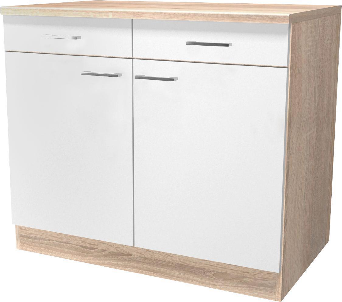 Kuchyňská Spodní Skříňka Samoa  Us 100 - bílá/barvy dubu, Konvenční, dřevěný materiál (100/85/57cm)