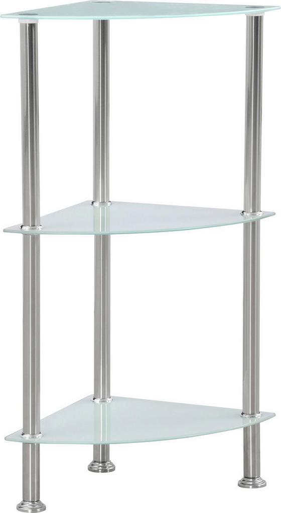 Polc Glare - Nemesacél/Fehér, modern, Üveg/Fém (30/70/30cm) - Luca Bessoni