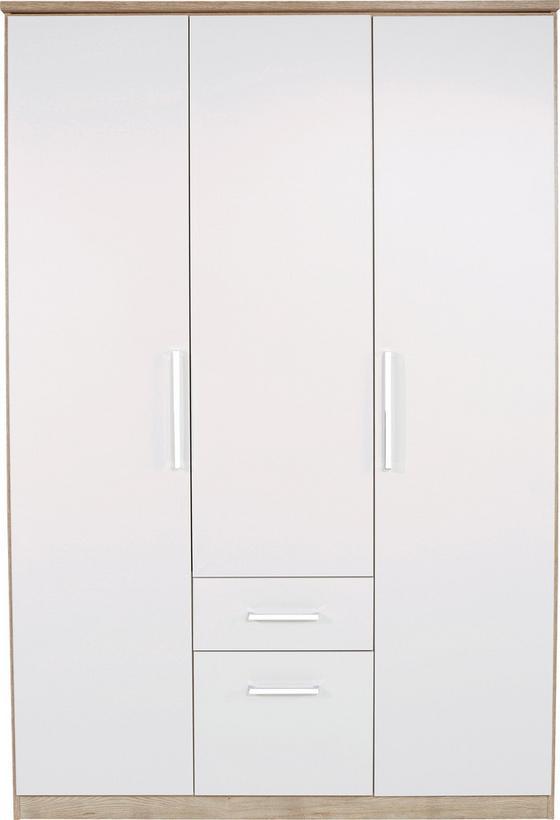 Skříň Šatní Wien - bílá/barvy dubu, Konvenční, dřevěný materiál (136/212/56cm)