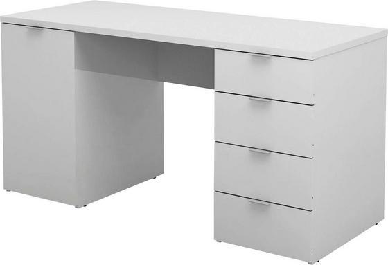 Íróasztal Larry Ii - Fehér, modern, Faalapú anyag (145/75/60cm)