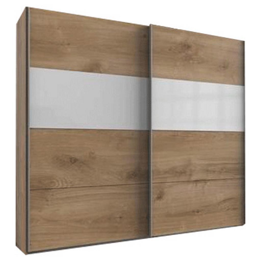 skříň s posuvnými dveřmi Bramfeld,barvy Dubu/sklo Bílé