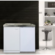 Miniküche Respekta B: 100 cm Weiß - Weiß, MODERN, Holzwerkstoff/Metall (100cm) - MID.YOU
