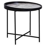 Beistelltisch D: ca. 46 cm / Schwarz, Weiß - Schwarz/Weiß, Design, Holz/Holzwerkstoff (46/45/46cm) - Carryhome