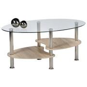 Couchtisch mit Glasplatte + Ablagen Panty, Eiche Dekor - Edelstahlfarben/Sonoma Eiche, Design, Glas/Holzwerkstoff (90/55/42cm) - MID.YOU