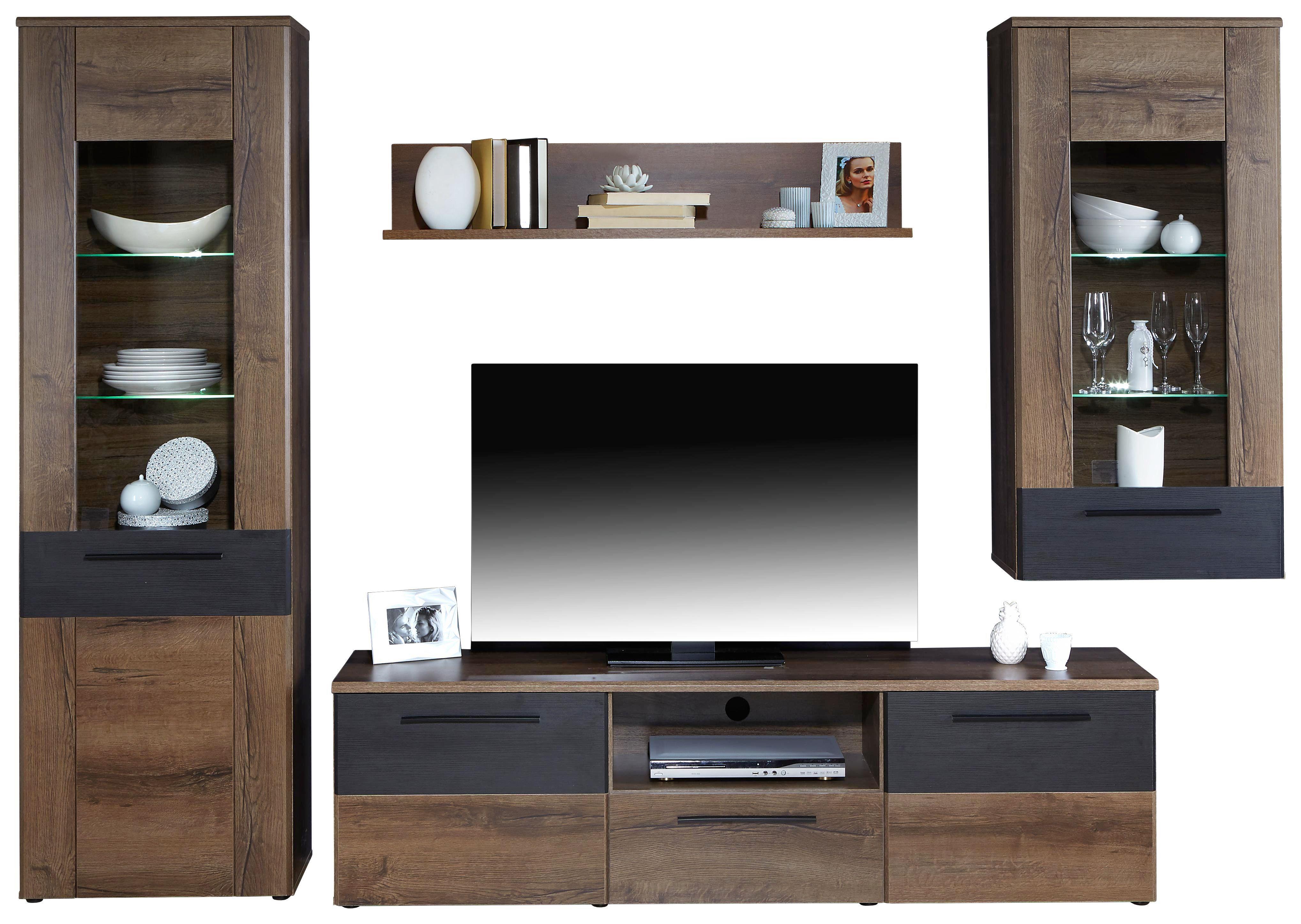 Obývací Stěna Varello - barvy dubu, Moderní, kov/kompozitní dřevo (300/197,6/41,3cm)