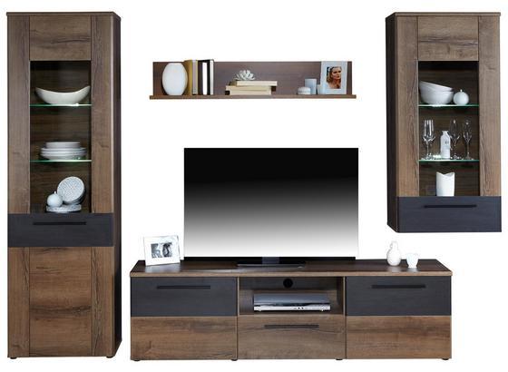 Obývacia Stena Varello - farby dubu, Moderný, kov/kompozitné drevo (300/197,6/41,3cm)
