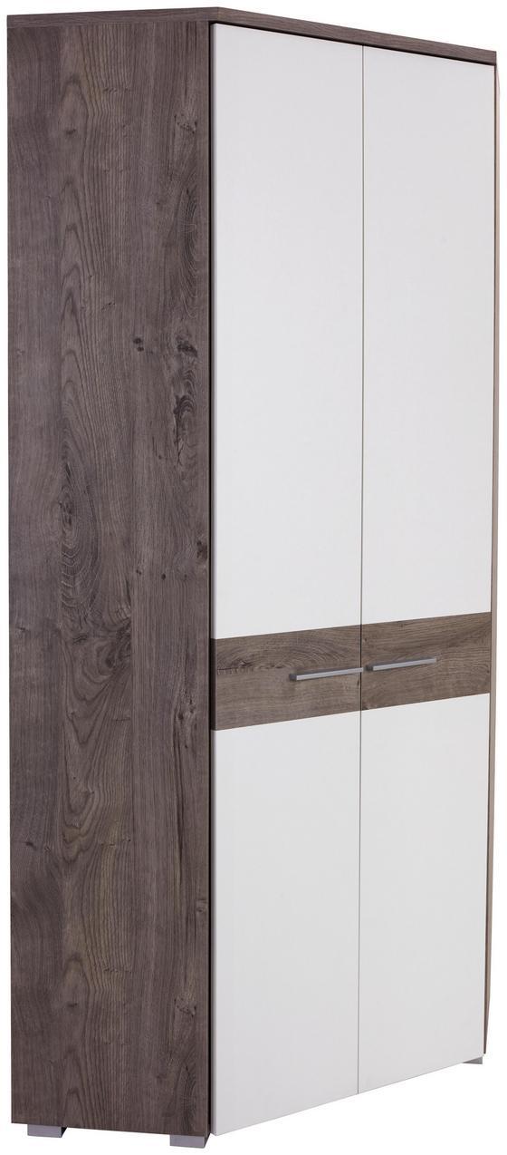 Rohová Skříň Monza New - bílá/barvy dubu, Moderní, kompozitní dřevo (80/196/80cm)