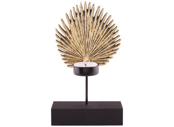 Kerzenhalter Trina - Goldfarben/Schwarz, MODERN, Holz/Kunststoff (12/22/7cm) - Luca Bessoni