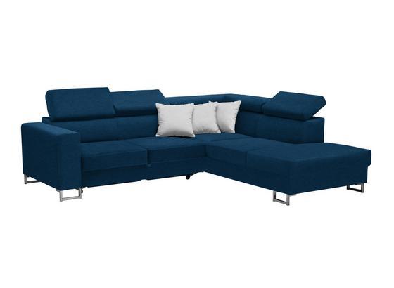 Wohnlandschaft In L-Form California 250x230cm - Blau/Edelstahlfarben, MODERN, Textil (250/230cm) - Luca Bessoni