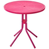 Kinder-Gartentisch Melanie I Stahl, Ø ca. 50 cm - Pink, KONVENTIONELL, Kunststoff/Metall (50/48cm) - Ombra