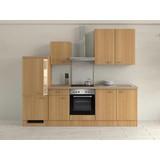 Küchenblock Nano 270cm Buche - Edelstahlfarben/Buchefarben, MODERN, Holzwerkstoff (270/60cm)