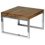 Beistelltisch Guna Echtholz Sheesham Massiv, Beine Silber - Silberfarben/Sheeshamfarben, Design, Holz/Metall (45/40/45cm) - Livetastic