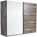 Schwebetürenschrank Moon B:271cm Driftwood/ Weiß Dekor - Braun/Weiß, MODERN, Holzwerkstoff (271/211/59cm)