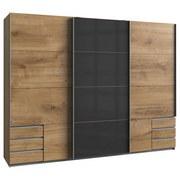 Schwebetürenschrank Valencia B: 270 cm Eichefarben - Eichefarben/Graphitfarben, Basics, Holzwerkstoff (270/210/65cm)