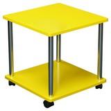 Kisasztal Paul - Króm/Sárga, modern, Faalapú anyag/Műanyag (40/41,5/40cm)