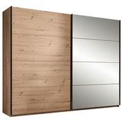 Schwebetürenschrank Orlando B:215cm Eiche Dekor/ Spiegel - Eichefarben/Bronzefarben, MODERN, Glas/Holzwerkstoff (215/210/60cm)
