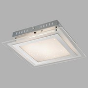 LED-Deckenleuchte Karanta,26x26x6,5 cm - Silberfarben, MODERN, Glas/Metall (26/26/6,5cm)